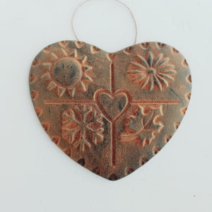 The Four Seasons of the Heart - Antiqued Cinnamon Beeswax Ornament