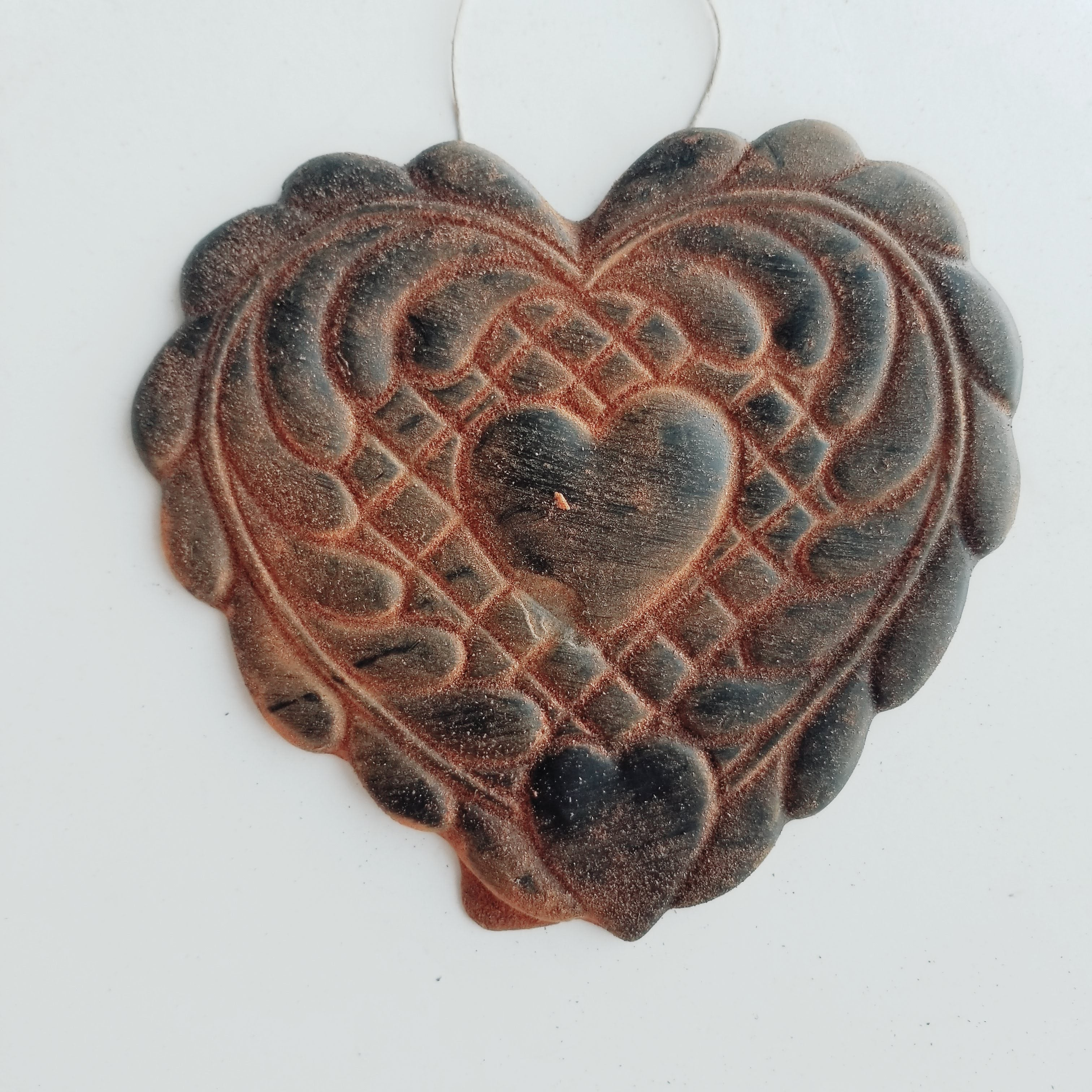 A Quilter's Patient Heart Ornament - Antiqued Cinnamon