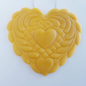 A Quilter's Patient Heart Ornament - Yellow Beeswax