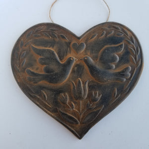 Carved Tulip and Doves Ornament - Antiqued Cinnamon