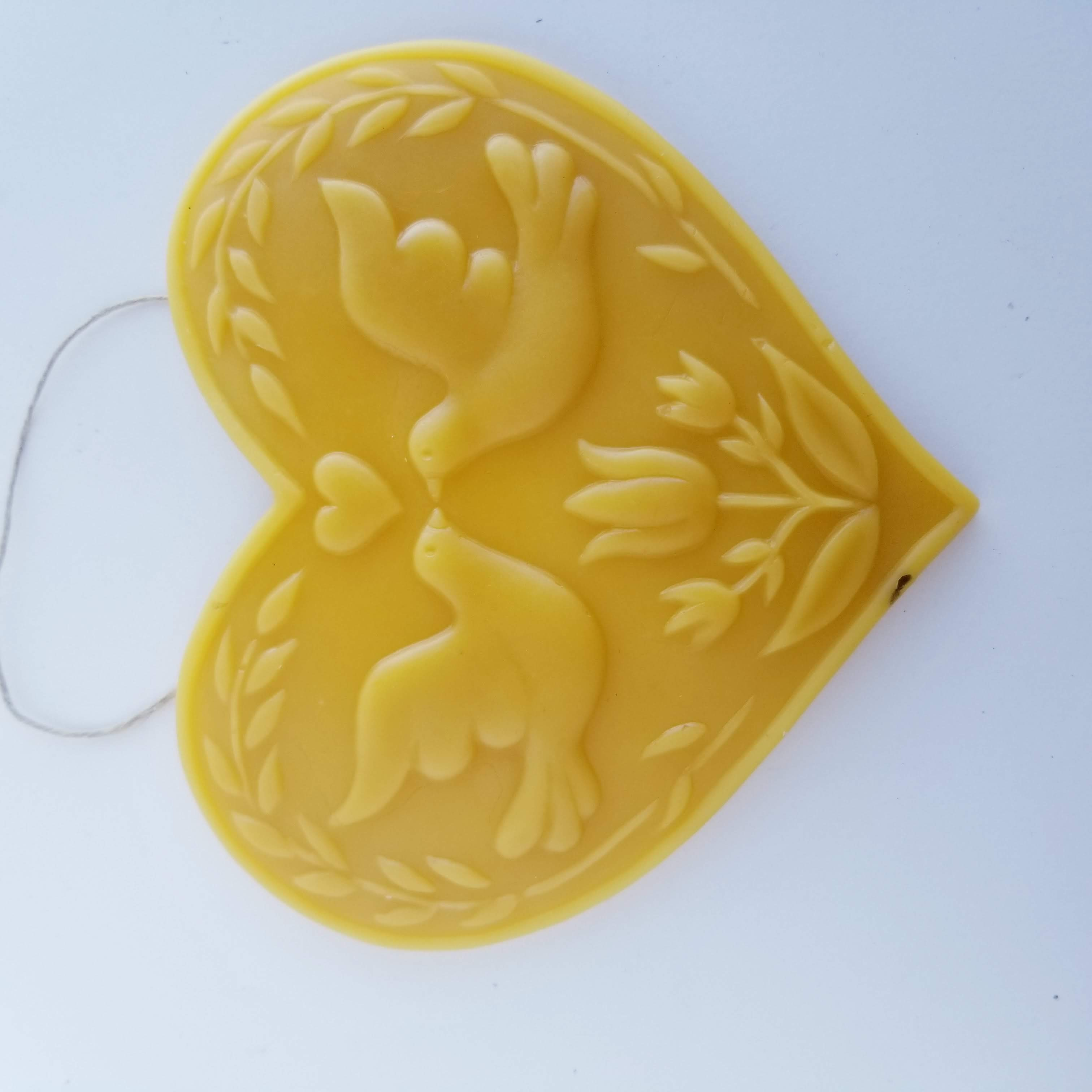 Carved Dutch Tulip and Doves Ornament - Yellow Beeswax