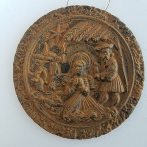 Olde World German Nativity- Antiqued Cinnamon Beeswax Ornament