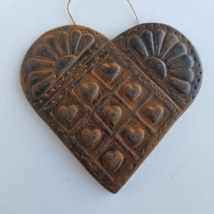 Pioneer Heart- Antiqued Cinnamon Beeswax Ornament