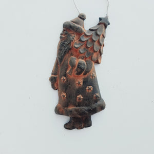 Saint Nick Bringing the Christmas Tree Ornament - Antiqued Cinnamon