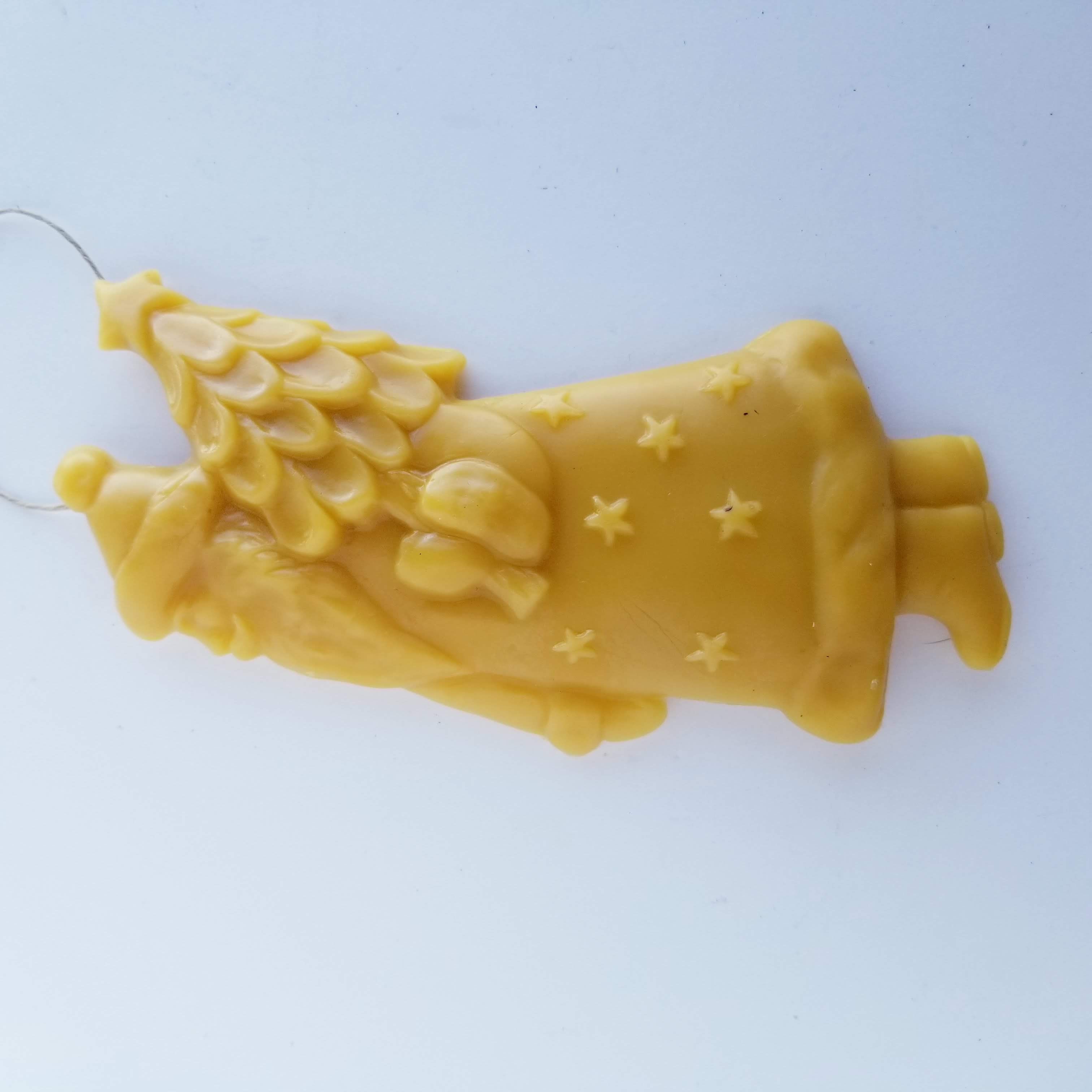 Saint Nick Bringing the Christmas Tree Ornament - Yellow Beeswax