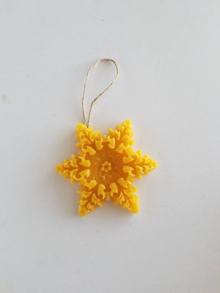 Frozen Snowflake Beeswax Ornament - Yellow Beeswax