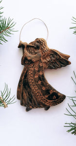 Trumpeting Angel Ornament- Antiqued Cinnamon Beeswax