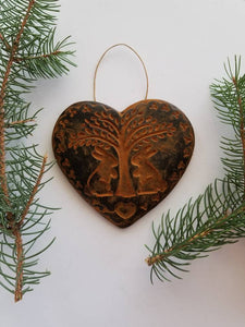 Giving the Harvest Heart Antiqued Cinnamon Beeswax Ornament
