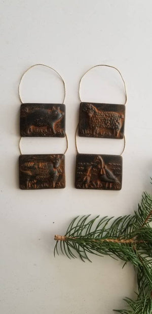 Farm Animals Antiqued Cinnamon Beeswax Ornaments