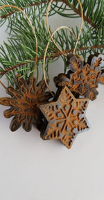 Antiqued Beeswax Snowflake Ornaments