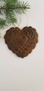 A Quilters Patient Heart - Antiqued Cinnamon Beeswax Ornament