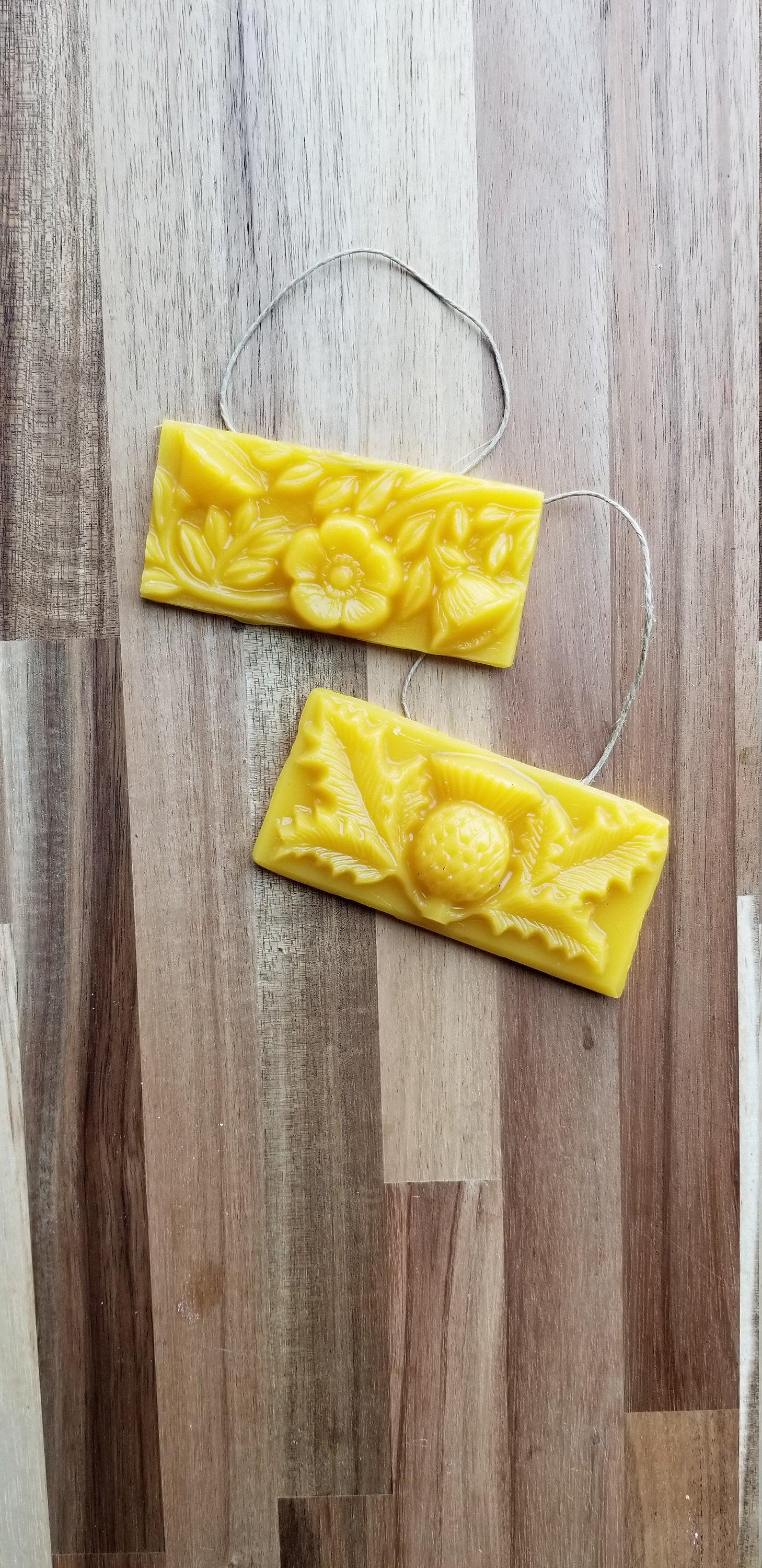 Scottish Thistle and Flower Ornaments - Yellow Beeswax