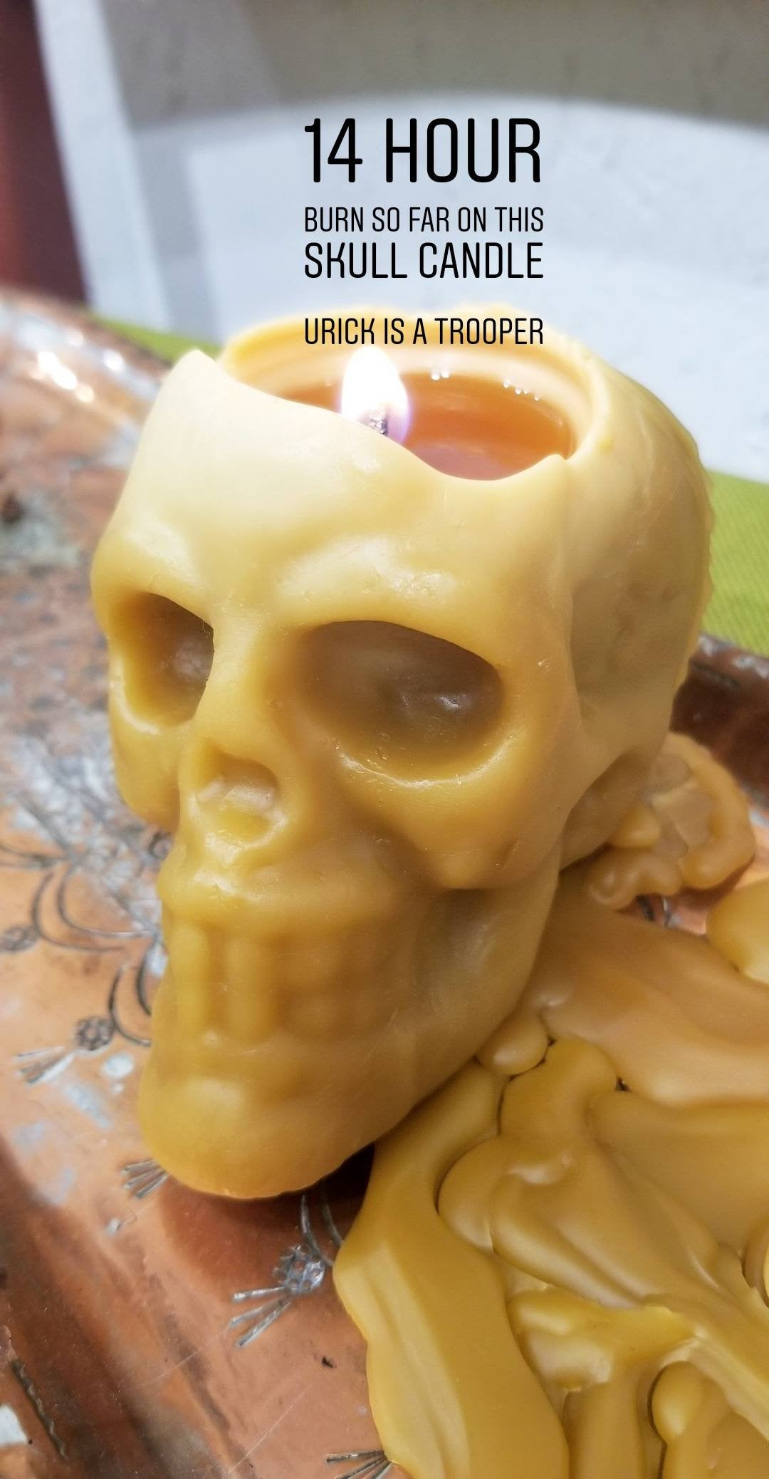 Shakespeare's Urick skull- Beeswax Candle