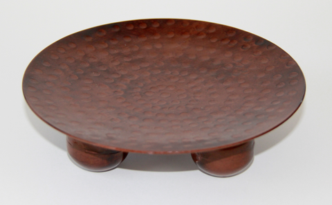 Candle Holder: Hammered Metal Plate - bronze color