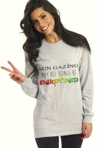 May All Beings Be Enlightened Long Sleeved Grey