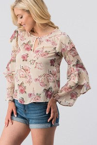 Cream Ruffled Sleeve Floral Blouse