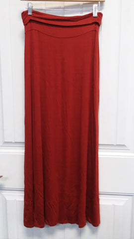 Folded Waist Rust Maxi Skirt