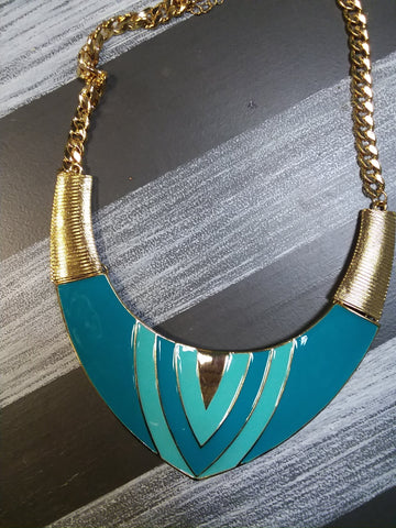 Gold and Turquoise Plate Necklace