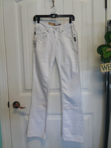 Suki Fit Mid Slim Boot White Jeans Size 25