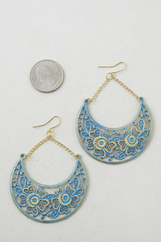 Stacey Blue Half Moon Earrings