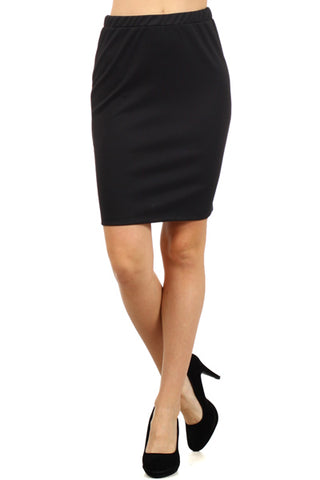 Cotton Black Pencil Skirt