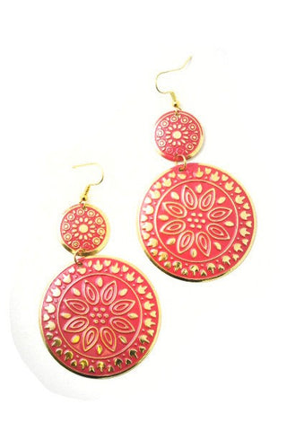 Large Coral Round Disk Earrings