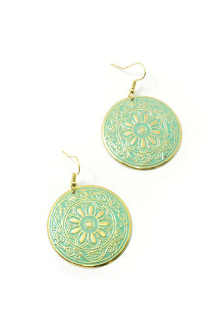 Green Disk Earrings