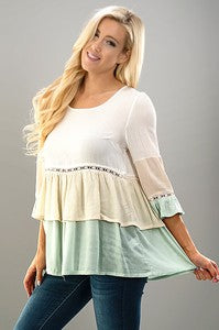 Mint Block Tunic Top