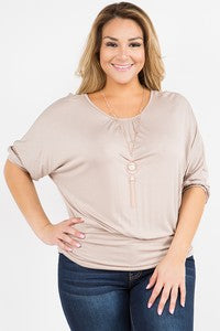 Taupe Dolman Sleeve Top with Necklace