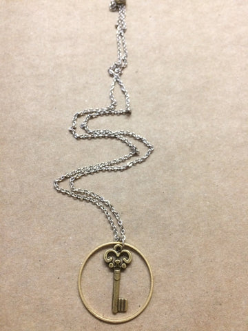 Brass Key in Brass Circle Necklace