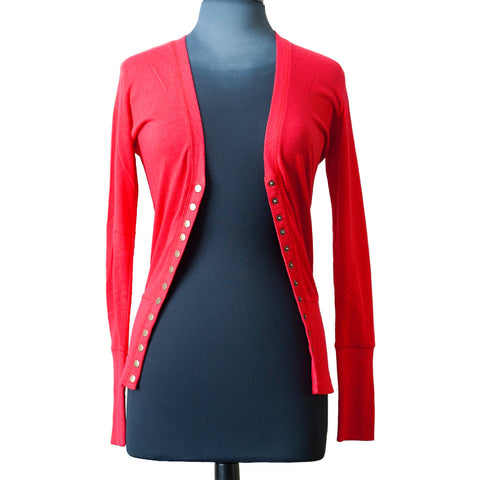 13 Snap Button Red Cardi