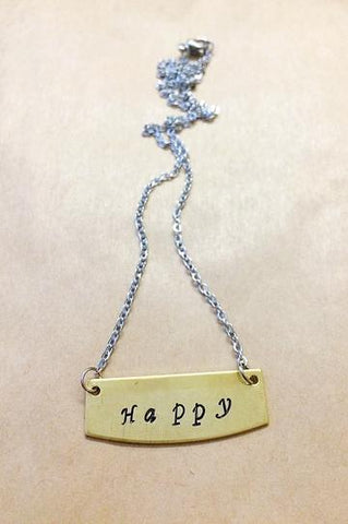 "Hand Stamped ""Happy"" Necklace"
