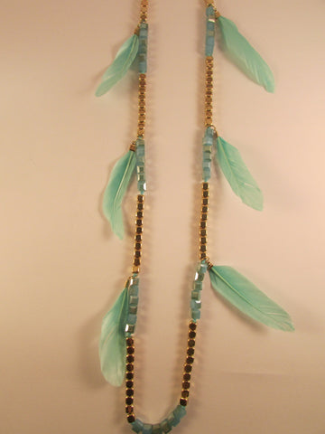 Mint Feathers and Squares Necklace
