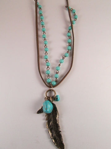 Turquoise Leather and Feathers