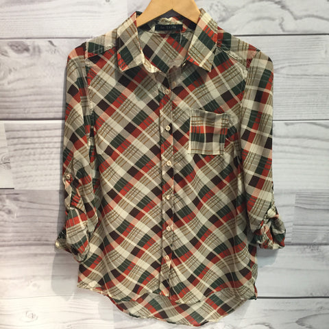 Rusty Plaid Pretty Blouse