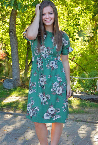 Nessa Emerald Floral Dress
