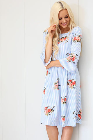 Naomi Striped Floral Dress