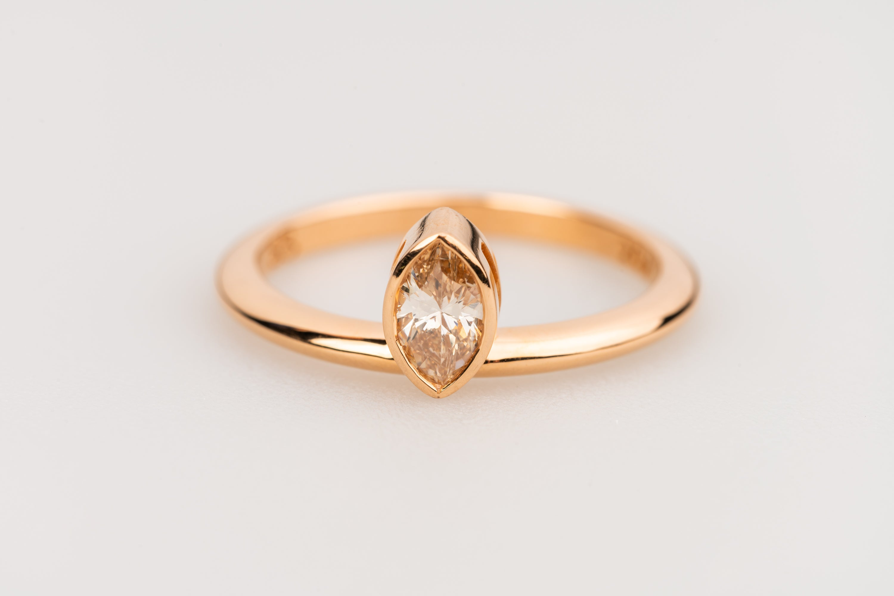 Marquise Shaped Champagne Diamond in 18k Rose Gold Ring