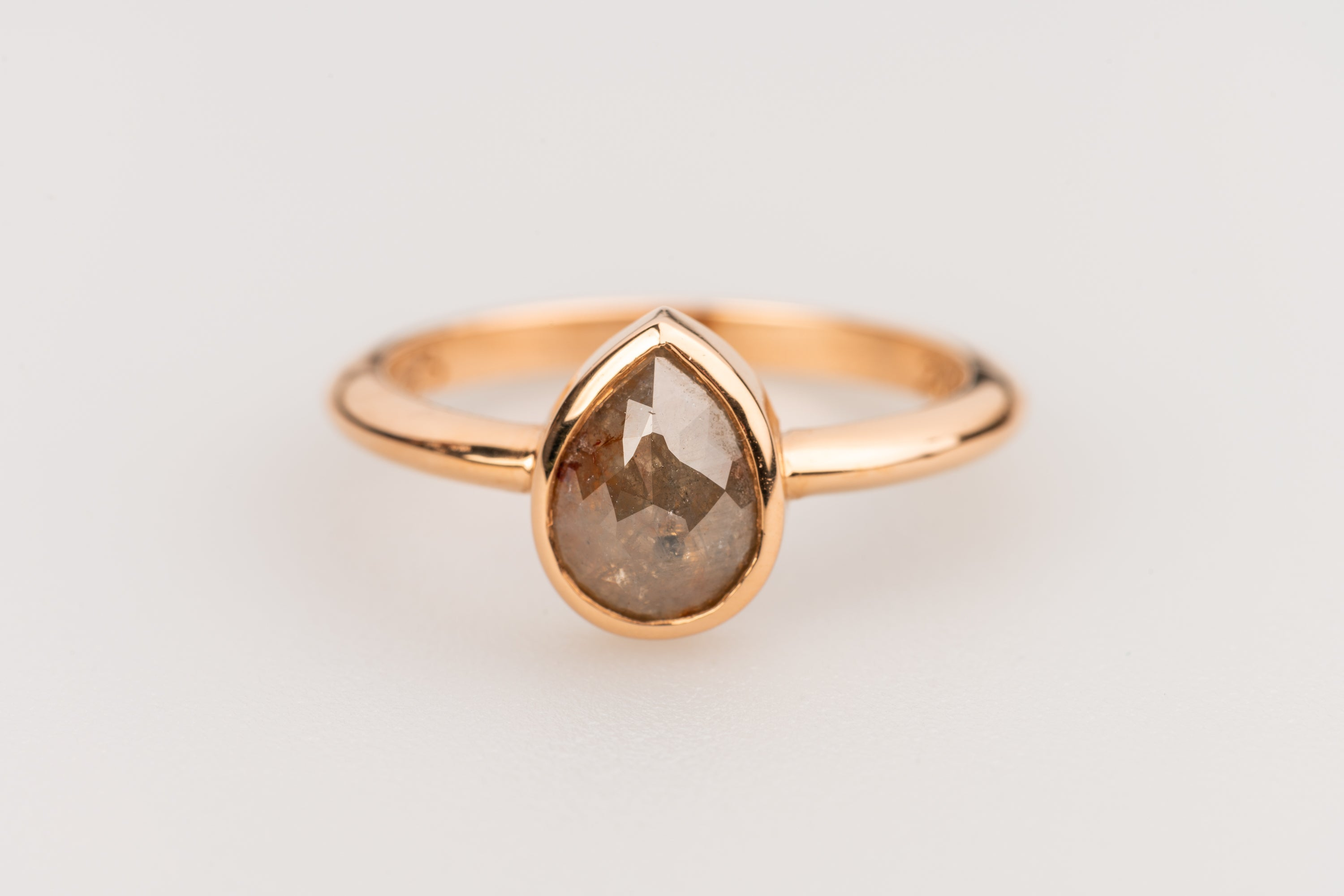 Pear Shaped Rose Cut Diamond Ring in 20k Rose gold