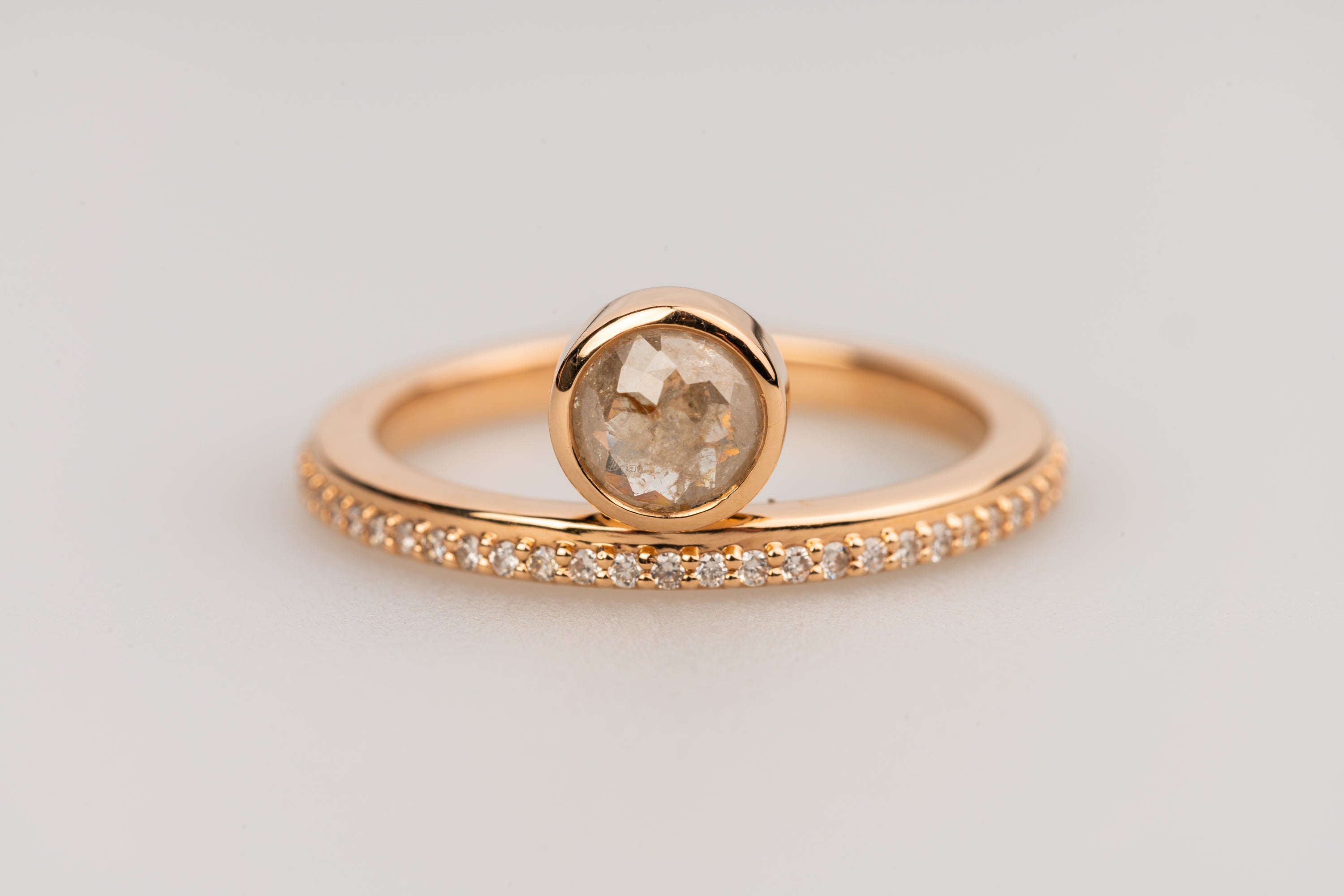 18k Rose Gold Ring with Diamonds and Off Centered Round Rose Cut Grey Diamond