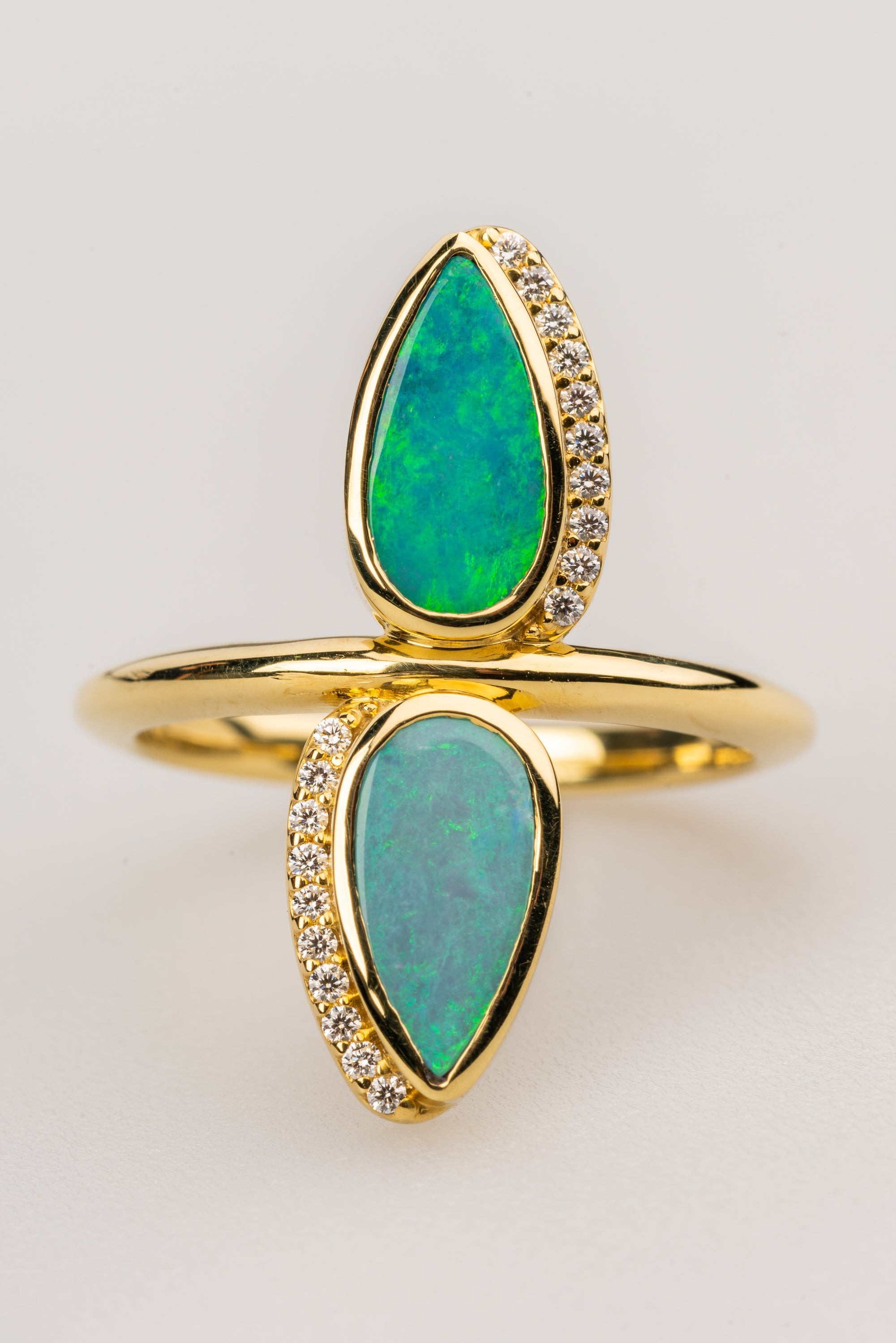 Double Opal in 18k Yellow Gold Ring