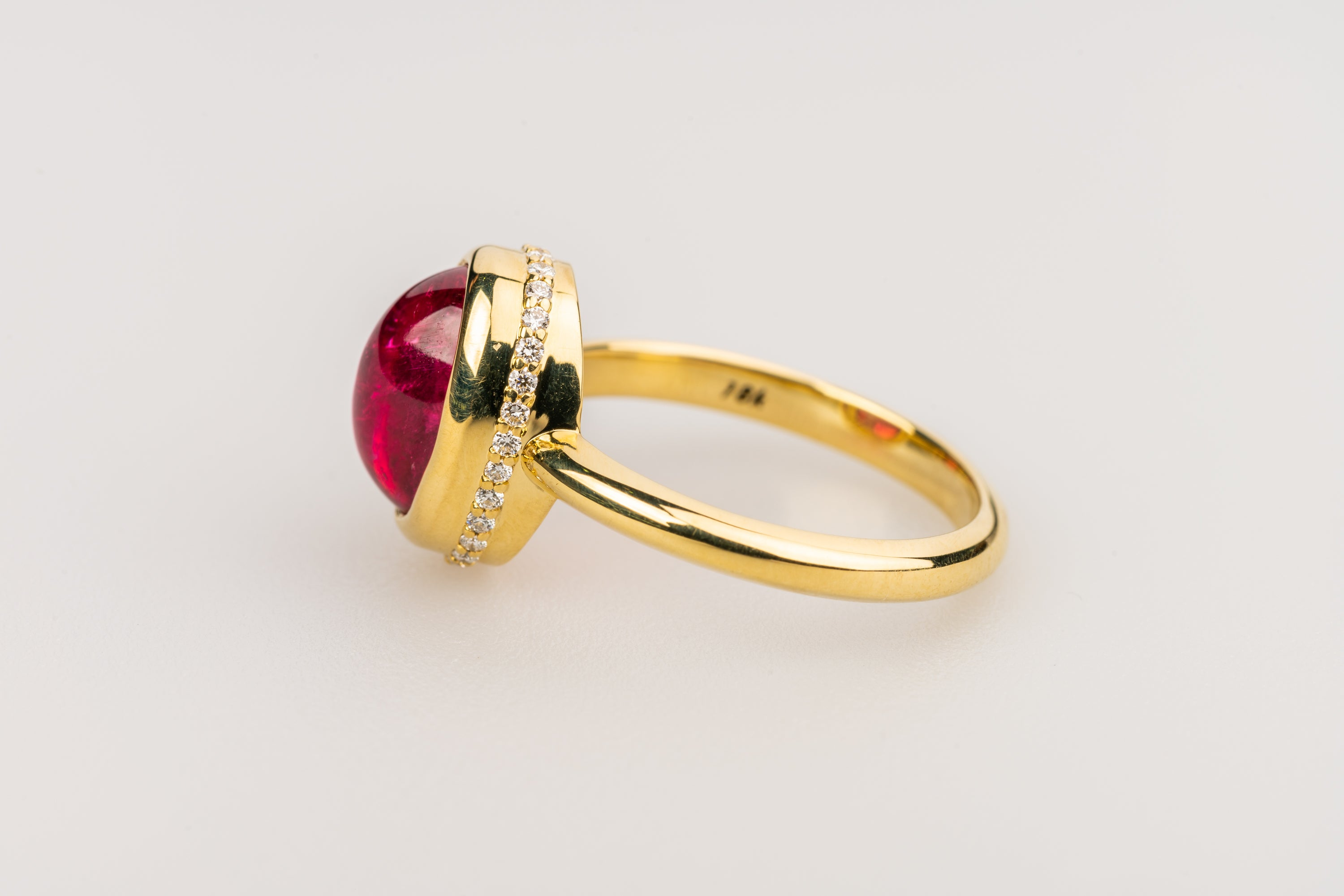 Red Tourmaline in 18k Yellow Gold
