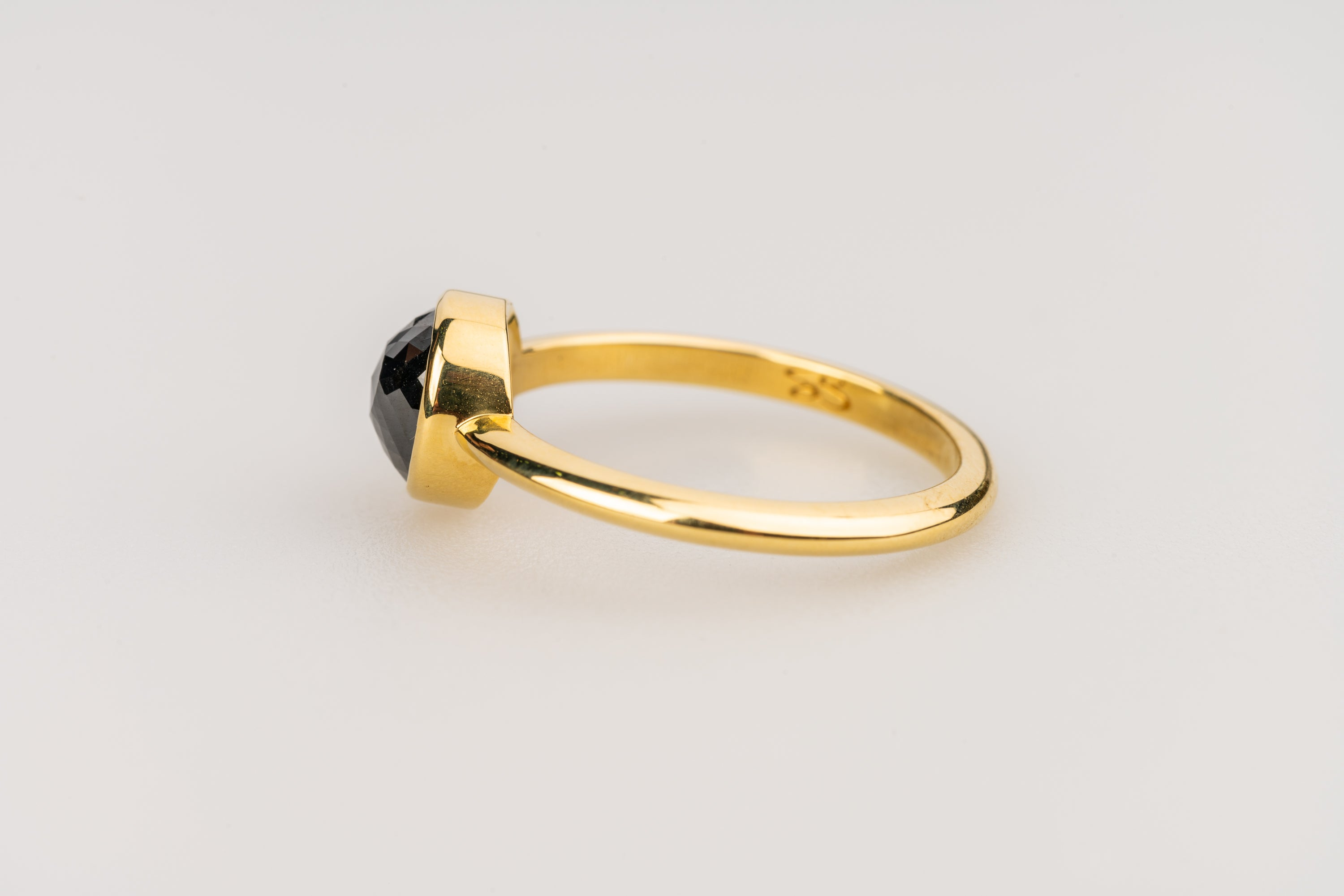 18k Yellow Gold and Round Rose Cut Black Diamond Ring