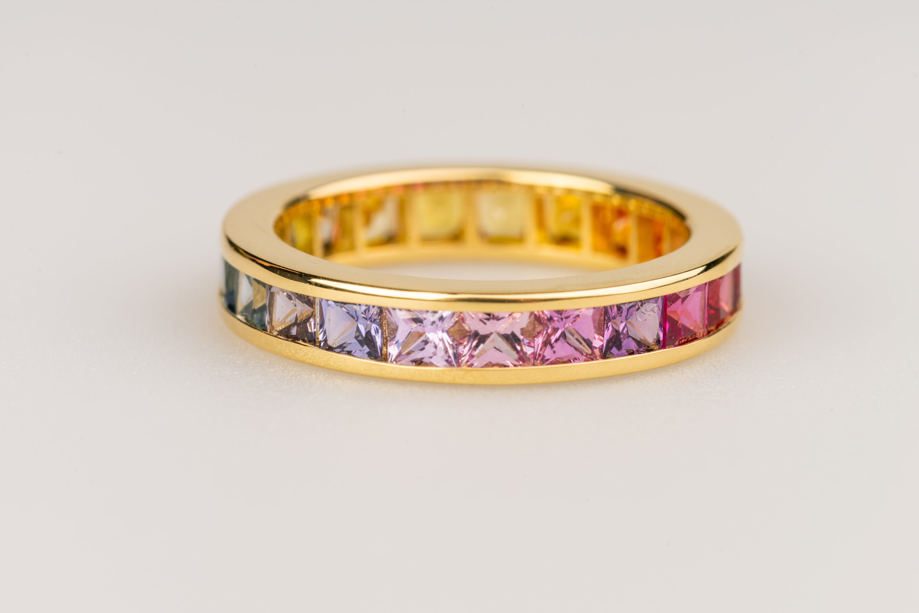 Princess Cut Multi Colored Stones Eternity Ring