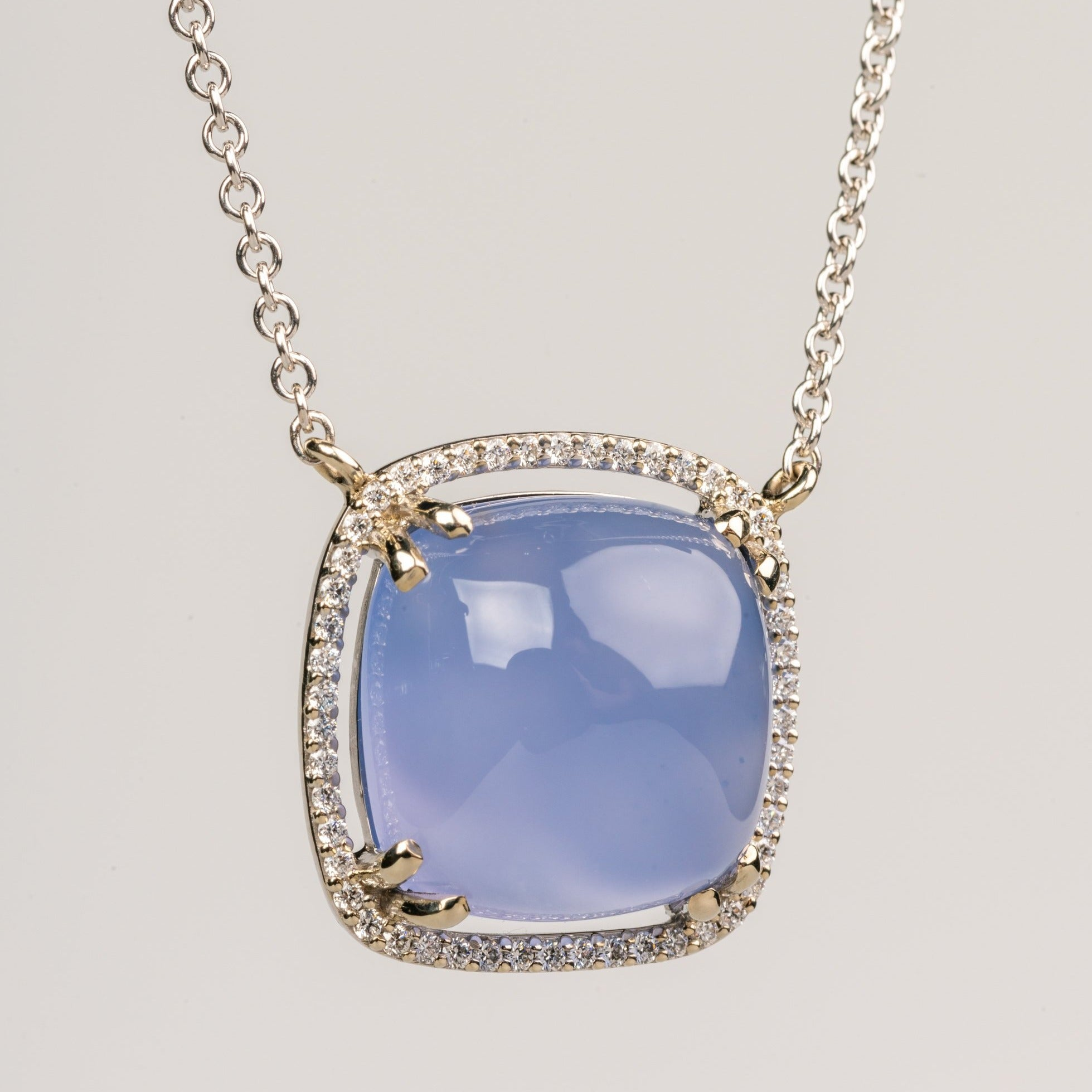 Blue Chalcedony and White Diamond Necklace in 18k White Gold
