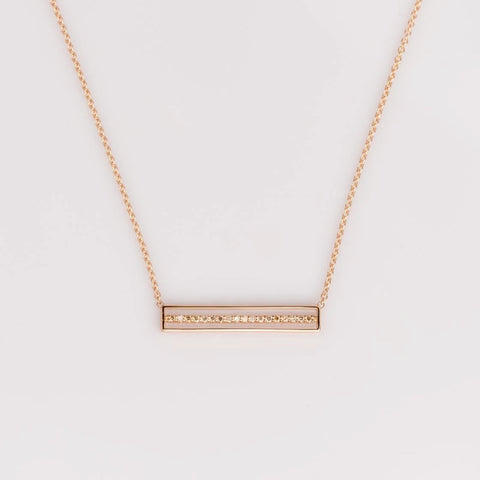 18k rose gold floating bar necklace, sydney strong, greenville, south carolina