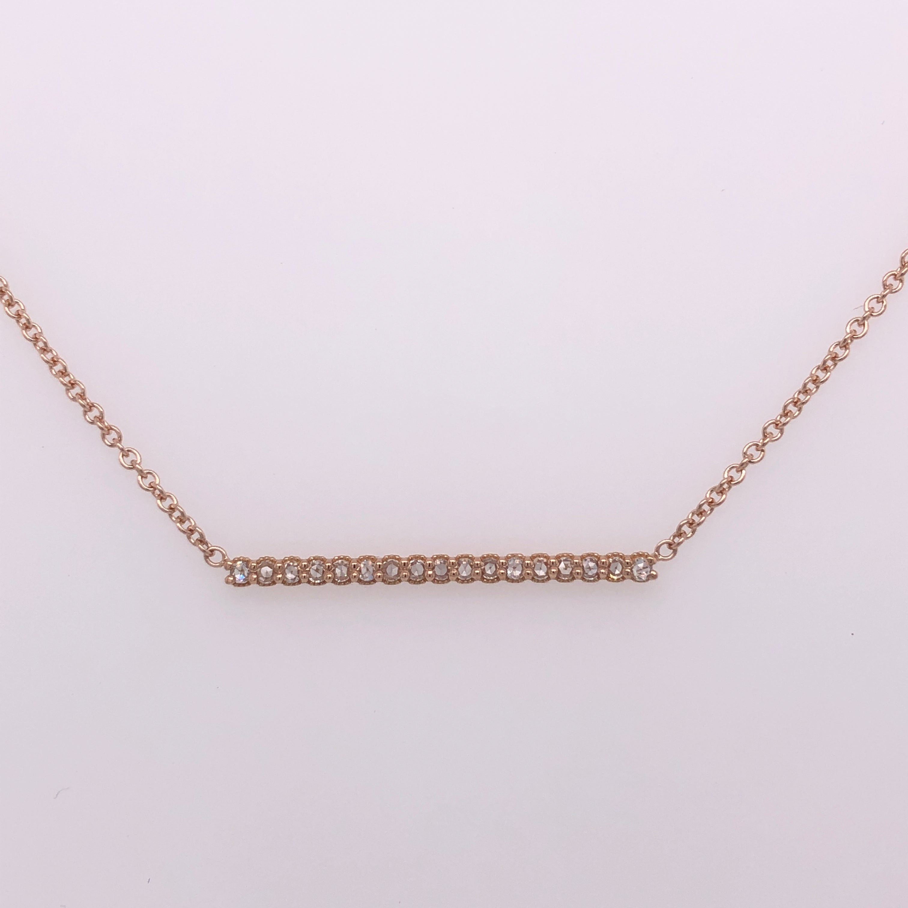18k Rose Gold Rose Cut Diamond Bar Necklace