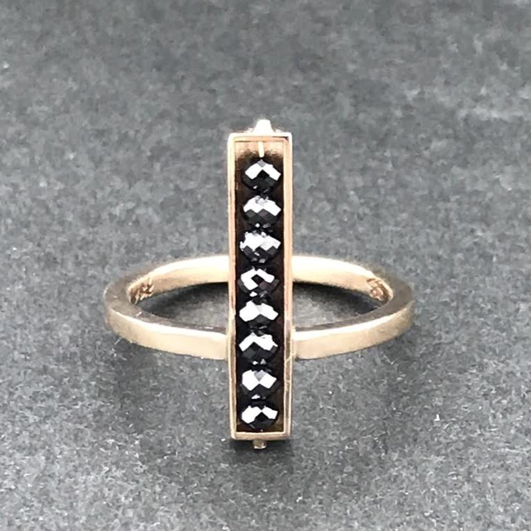 18k white gold black diamond bar ring, sydney strong, greenville, south carolina