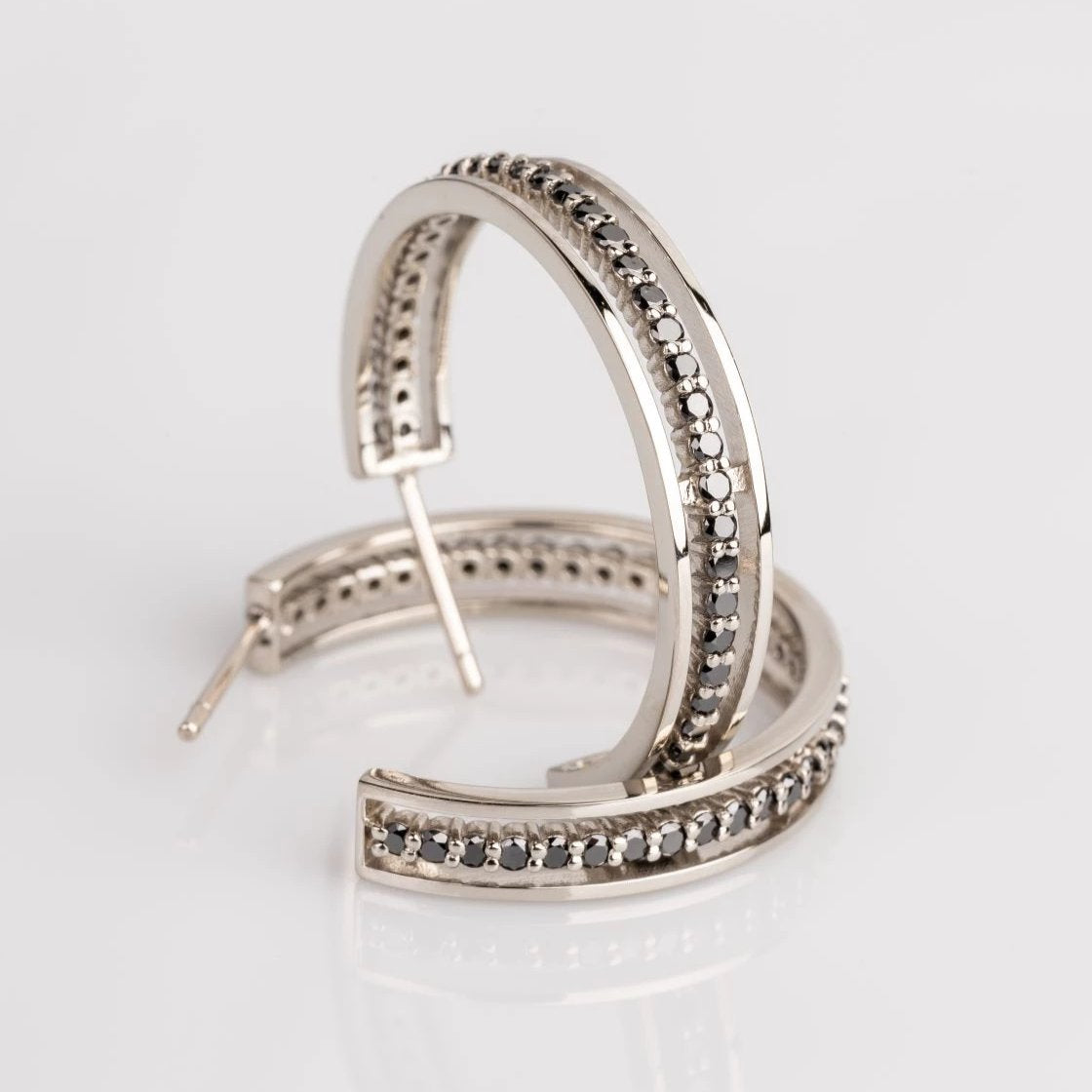 18K white gold black diamond floating eternity hoops, sydney strong, greenville, south carolina