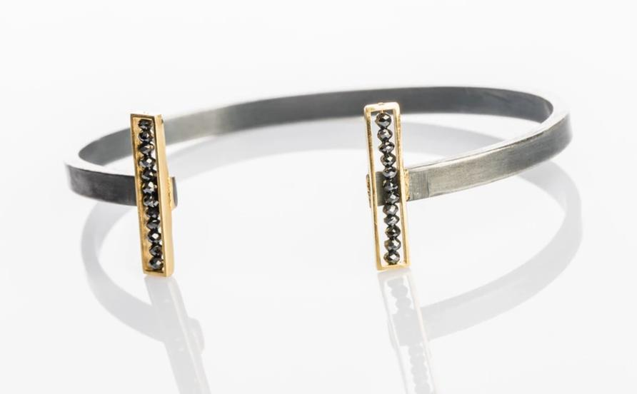 18k Yellow gold and oxidized sterling silver bar cuff, sydney strong, Greenville, South Carolina